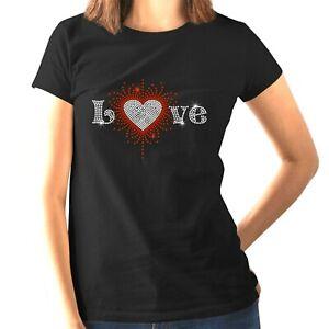LOVE & HEART Ladies t shirt - Crystal Rhinestone Retro Design - Any Size