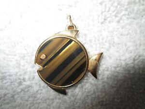 "Vintage 1960's Signed Trifari Tigers Eye Fish 1"" Pendant Gold Tone No Chain."