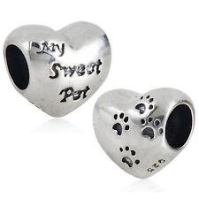 MY SWEET PET HEART CAT DOG 925 sterling silver charm bead fits european bracelet