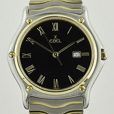 Ebel Classic Wave, Mens, Stainless Steel and 18k Yellow Gold, Black Dial