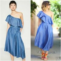 ZARA Blue Denim Dress With Asymmetric Details Woman Authentic BNWT XS S 5520/042