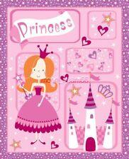 Little Princess Cotton Fabric Heart Crown Castle Star Panel