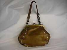 MARNI SMALL METALLIC GOLD OR BRONZE COLORED LEATHER HAND BAG WITH SILVER STUDS