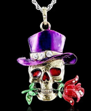 "ROCK N ROLL TOP HAT ROSE SKULL NECKLACE 26"" PENDANT 2 1/2"" WITH GEMSTONES"