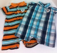Carters Outfit Boys Summer Rompers One Piece  Plaid Stripe lot Size 3 Months