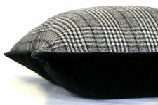 Black & White Plaid / Black Velvet Black velvet piping, 48x34