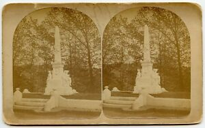 """Robber baron"" James Fisk Monument  Brattleboro VT Cemetery Stereoview by C.Howe"