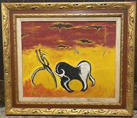 "Vtg MCM Oil on Canvas Painting Bull Fighter on Ornate Gilded Wood Frame 28""x32"""