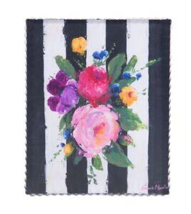 Round Top Collection NWT - Vibrant Spring Bouquet Print - Metal & Wood
