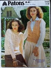 """PATONS 1700: DOUBLE KNIT SWEATER AND SLEEVELESS CARDIGAN TO FIT 30-40"""" , VINTAGE"""