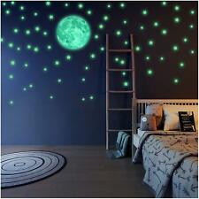 Glow In The Dark Stars Moon Wall Stickers Luminous Kids Bedroom Nursery Ceiling