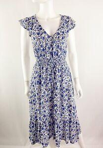 Lucky Brand Sz XS Blue Floral Prairie Dress Midi A-Line