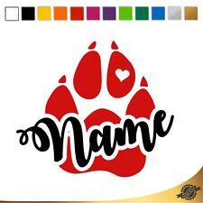 Aufkleber Sticker Autoaufkleber Name Herz Hund Pfote 2farbig 10 x 11,2 cm