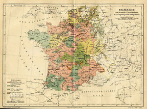 1876 Map of France  in XIV-XVI Original Antique Map France