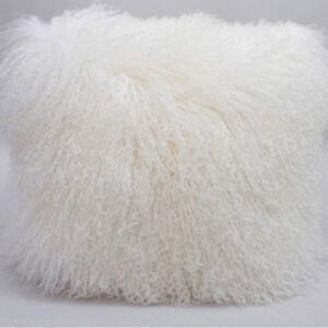 18x18'' Real Mongolian Tibetan Lamb Fur Pillow Tibet Cushion Wool Fur Pillowcase
