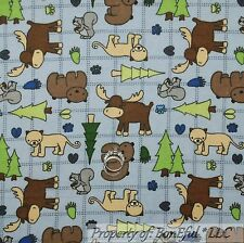 BonEful Fabric FQ Cotton Quilt Flannel Blue Green Tree Log Cabin Bear Moose Paw
