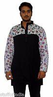 Indian Men's 100% Cotton Shirt Tunic Ethnic Kurta Plus Size solid Plain Black