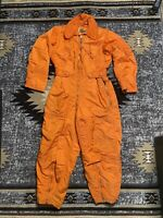 Vintage Coverall Orange Flight Suit Mens Medium Wool Rayon Military Air Force
