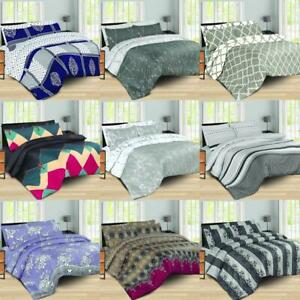 4Pcs Complete Luxury Duvet Quilt Cover Bedding Set With Fitted Sheet All Sizes