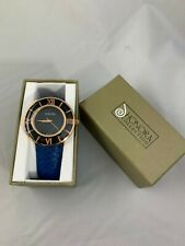 HONORA WATER RESISTANT BRONZE/MOTHER OF PEARL WATCH/BLUE EMBOSSED LEATHER BAND