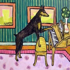 doberman pinscher playing the piano dog art tile coaster gift music room art