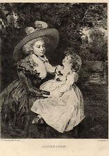 EAU FORTE 1860 / LA VEUVE ET L'ENFANT Sir Joshua Reynolds 1723-1792