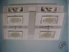 DESIGN XXIe : LED Plafondlamp in staal & glas , incl.4x led's GU10 3W - Nieuw