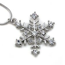Snowflake Winter Bridesmaid Bridal Wedding Clear Crystal Stone Necklace Pendant