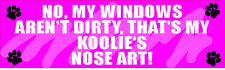 "My Koolie Nose Art Dirty Window Dog 3"" X 10"" Sticker"