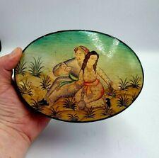 More details for large vintage indian box papier mache trinket pot pill hand painted
