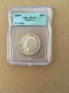 Canada Canadian Half Dollar 50 Cents 1950 No Design NGC EF-45 Great Eye Appeal