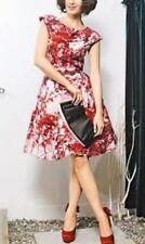 Ted Baker BARISH dress 100% silk cherry blossom Tree Fit Flare SIZE 0 UK 6