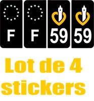 4 Autocollants 2 paires Stickers style Auto Plaque Black Edition noir F+ 59