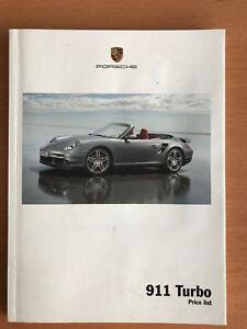 Porsche 911 Turbo Price List Brochure 2008 2009 UK Market