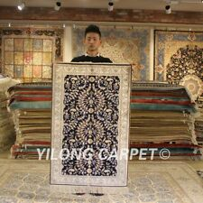 Yilong 2.5'x4' Blue Hand-knotted Silk Area Rug Home Indoor Oriental Carpet 085B