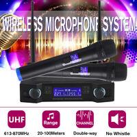2 Channel Dual Handheld Microphone UHF Professional Wireless Mic Karaoke  !