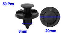 50 X Black Plastic Push Rivet Trim Panel Fastener Clips 8mm Dia Hole For Car