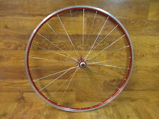 VINTAGE ORIGINAL MAVIC HELIUM RED ANODIZED CLINCHER 700C FRONT WHEEL