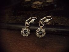 Vintage Jet & Black Diamond Crystal Drop Pierced Earrings