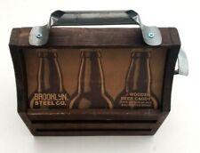 Brooklyn Steel Co Wooden 6 Pack Beer Caddy Holder Carrier w/ Bottle Opener