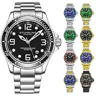 Stuhrling 3930 Men's Depthmaster Aquadiver Japanese Quartz 10 ATM Dive Watch