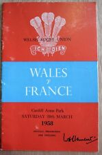 Wales v France Rugby Union Programme 1958 Cardiff Arms park