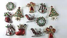 12 pcs Brooch Pin Vintage Rhinestone Christmas for Christmas wholesale  Lot.