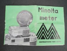 Minolta Meter Camera Light Meter 1957 Instructions For Using