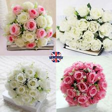 18 Heads Wedding Flowers Artivical Silk Roses Bunch Bridal Bouquets Home Decors~