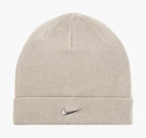 Nike Adults Swoosh Stylis Fold Over Style Winter Beanie Hat Headwear Light Cream