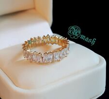 925 Sterling Silver Ring,wedding Full Eternity Baguette ring,4mm white sapphire.