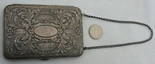 New listing Antique Sterling Silver Coin Case Metal Purse Mirror Make Up Wrist Chain 1920's