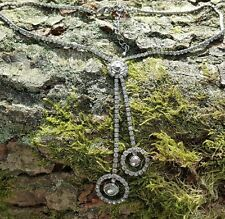 smoky/Hematite/cubic zirconia Necklace 38cm claw set Crystal