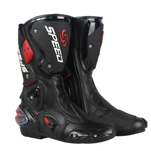 Motorbike Motorcycle Waterproof Boots High Ankle Racing Road Leather Shoes Bike